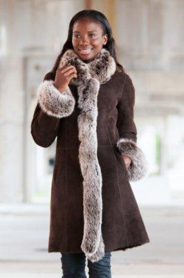 Chantal Reversible Sheepskin Coat with Silver Fox Fur Trim