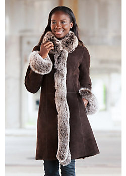 Women's Chantal Reversible Sheepskin Coat with Silver Fox Fur Trim