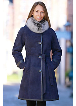 Women's Sadie Printed Shearling Sheepskin Coat with Fox Fur Collar