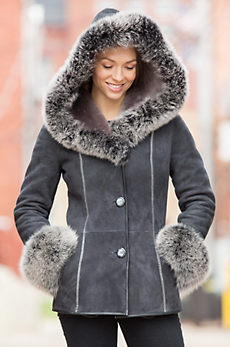 Irma Shearling Sheepskin Jacket with Fox Fur Trim
