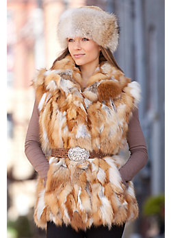 Women's Vivian Red Fox Fur Vest