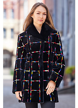 Zuki Rainbow Grid Beaver Fur Coat
