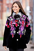 Women's Zuki Baroque Sheared Beaver Fur Coat with Chinchilla Fur Collar