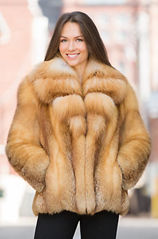 Camellia Red Fox Fur Jacket with Gold Fox Fur Collar