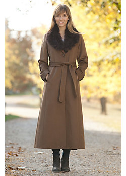 Women's Xena Angora Wool Coat with Fox Fur Trim