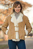 Women's Sabrina Shearling Sheepskin Jacket with Toscana Trim