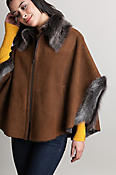 Women's Faye Shearling Sheepskin Cape with Toscana Trim