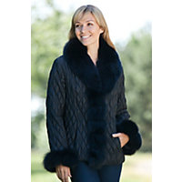 Women's Gabi Quilted Ski Jacket with Fox Fur Trim, BLACK/BLACK, Size SMALL (6-8)