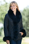 Women's Gabi Quilted Ski Jacket with Fox Fur Trim
