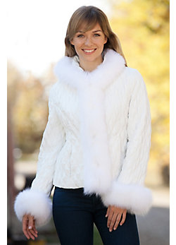 Women's Lisette Silk Jacket with Fox Fur Trim