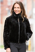 Women's Colesha Reversible Mink Fur and Leather Jacket