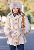 Women's Neveah Reversible Rex Rabbit Fur Coat
