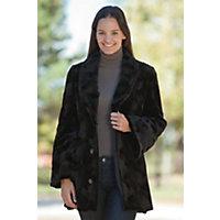 Women's Roxanne Reversible Sculptured Mink Fur Coat, Black, Size Small (6) Western & Country