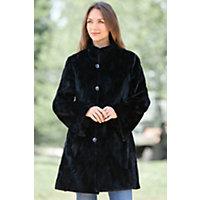 Women's Gwendolyn Reversible Diamond Cut Sculptured Mink Fur Coat, Black, Size Small (6) Western & Country