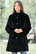 Women's Gwendolyn Reversible Diamond Cut Sculptured Mink Fur Coat