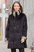 Women's Liza Reversible Mink Fur Coat with Rabbit Fur Trim