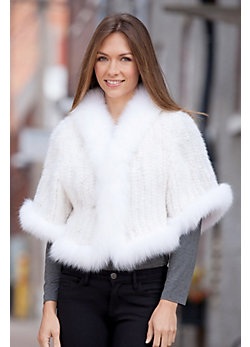 Women's Snookie Knitted Mink Fur Capelet with Fox Fur Trim