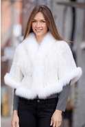 Snookie Knitted Mink Fur Capelet with Fox Fur Trim