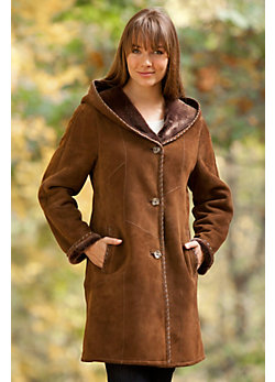 Women's Aisley Hooded Shearling Sheepskin Coat
