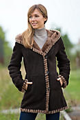 Women's Hadley Hooded Spanish Merino Shearling Sheepskin Coat