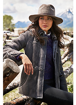 Women's Piper Shearling Sheepskin Coat with Detachable Hood