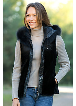 Women's Phyllis Sheared Rabbit Fur Vest with Fox Fur Trim