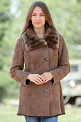 Women's Angela Shearling Sheepskin Coat with Rabbit Fur Collar