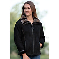 Women's Charmaine Shearling Sheepskin Jacket With Rex Rabbit Fur Collar, Black Tone On Tone, Size Large (10) Western & Country