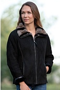 Women's Charmaine Shearling Sheepskin Jacket with Rex Rabbit Fur Collar