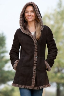 Hadley Hooded Shearling Sheepskin Coat