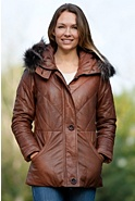 Women's Esmie Lambskin Leather Coat with Finn Raccoon Collar