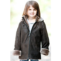 Children'S Kadin Shearling Sheepskin Jacket With Detachable Hood, Brown / Champagne, Size 4 Western & Country