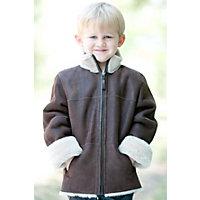 Children'S Kadin Shearling Sheepskin Jacket With Detachable Hood, Cognac / White, Size 4 Western & Country