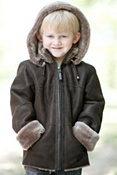 Children's Kadin Shearling Sheepskin Jacket with Detachable Hood