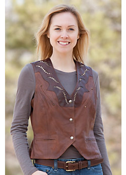 Women's Evelyn Western Lambskin Leather Vest