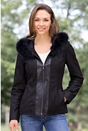 Women's Gabrina Lambskin Leather Jacket with Fox Fur Trim