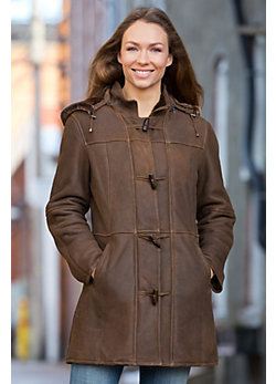 Women's Fauna Shearling Sheepskin Duffle Coat