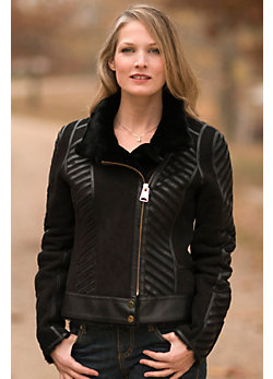 Women's Eclipse Sheepskin Bomber Jacket with Leather Trim