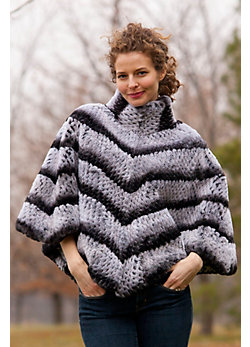 Women's Valencia Rabbit Fur Poncho