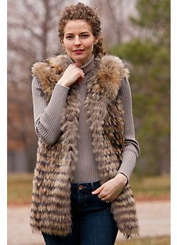 Women's Tierney Hooded Raccoon Fur Vest