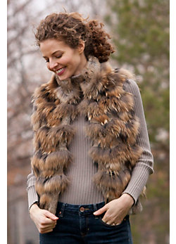 Women's Brynn Reversible Rabbit Fur and Raccoon Fur Vest