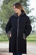 Women's Shayla Hooded Shearling Coat