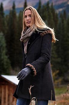 Tirsa Hooded Shearling Sheepskin Coat with Mink Fur Trim