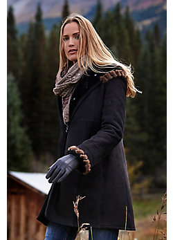 Women's Tirsa Hooded Shearling Sheepskin Coat with Mink Fur Trim