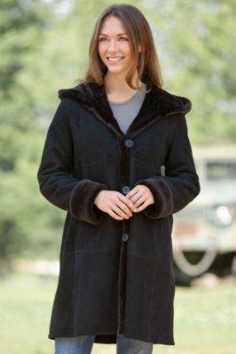 Ellery Hooded Shearling Sheepskin Coat