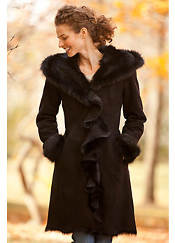 Women's Felicia Hooded Shearling Sheepskin Coat