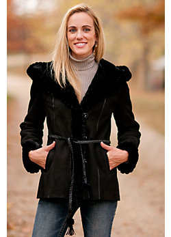 Women's Dahlia Shearling Sheepskin Coat with Beaver Fur Trim