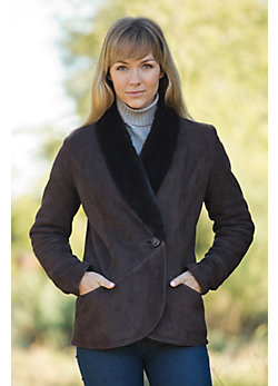 Women's Rosemary Shearling Sheepskin Coat with Mink Fur Trim