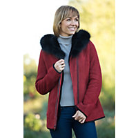 Women's Janette Shearling Sheepskin Coat with Fox Fur Trim, BORDEAUX, Size LARGE (12-14)
