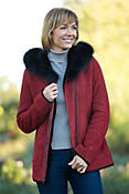 Women's Janette Shearling Sheepskin Coat with Fox Fur Trim